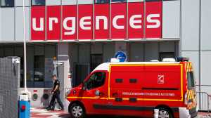 An ambulance arrives outside the emergency entrance of the Pasteur 2 Hospital, days after an attack by a driver of a heavy truck in Nice