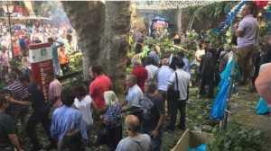 Fiéis estavam numa cerimónia religiosa quando ocorreu o acidente.